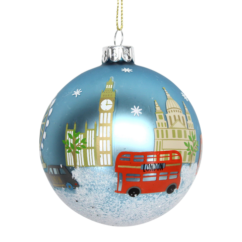 London Scene Painted Glass Bauble Christmas Tree Decoration