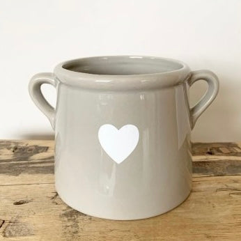 Scandi Grey & White Heart Vase with Handles Small
