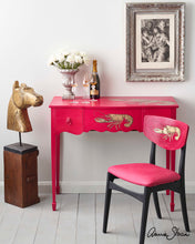 Lade das Bild in den Galerie-Viewer, Hollywood Glamour Desk & Chair Painted in Capri Pink by Annie Sloan