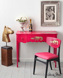 Hollywood Glamour Desk & Chair Painted in Capri Pink by Annie Sloan