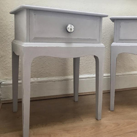 Pair of upcycled Stag Minstral tables in Annie Sloan Paloma SOLD
