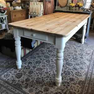Farmhouse style pine dining table 6ft SOLD - La Di Da Interiors