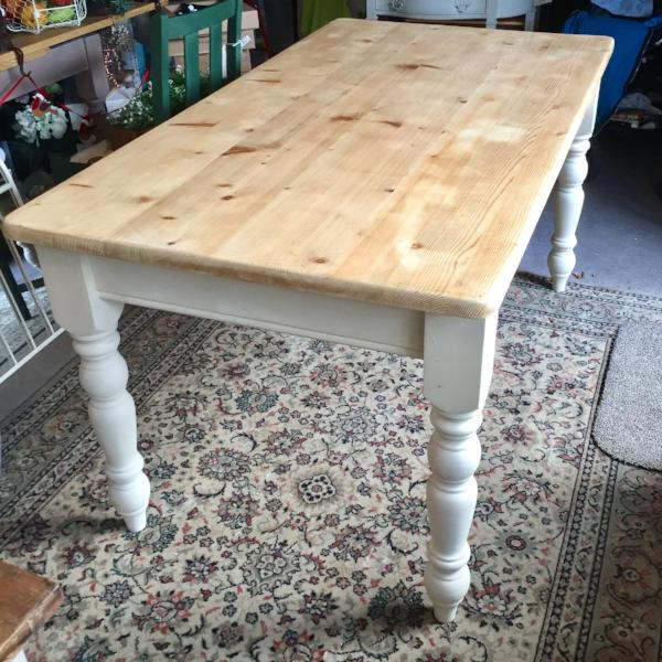 Pine Farmhouse Table in Old Ochre SOLD - La Di Da Interiors