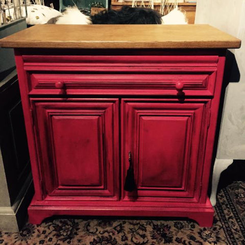 Romeo the cupboard or sideboard in Emperors Silk Red SOLD - La Di Da Interiors