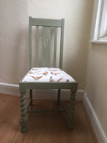 SOLD Vintage Upcycled chair Chateau Grey & Pheasants - La Di Da Interiors