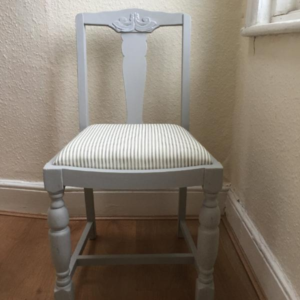 SOLD Vintage Upcycled Chair in Paris Grey - La Di Da Interiors