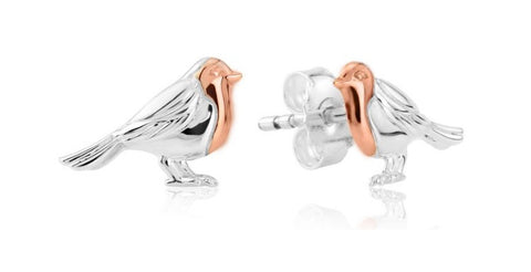 Robin silver stud earrings
