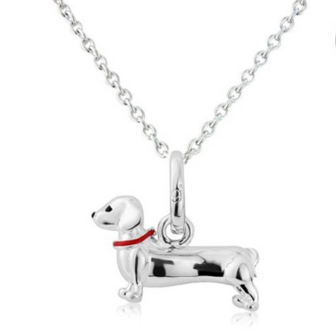 Dotty the Dachshund silver pendant necklace