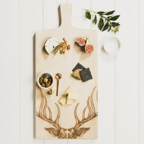 Scottish Sycamore Large Stag Paddle Serving Board