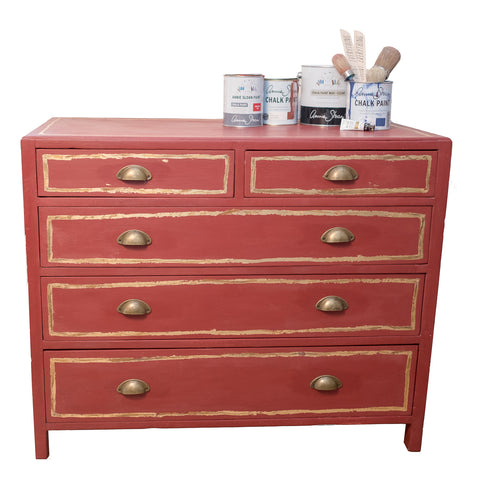Bertie - Rich Red Chest Of Drawers with gold detail