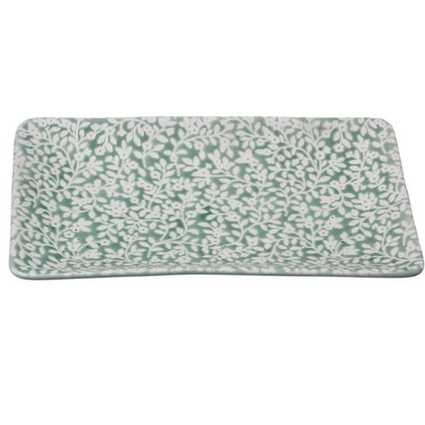 Green Floral Large Trinket Dish