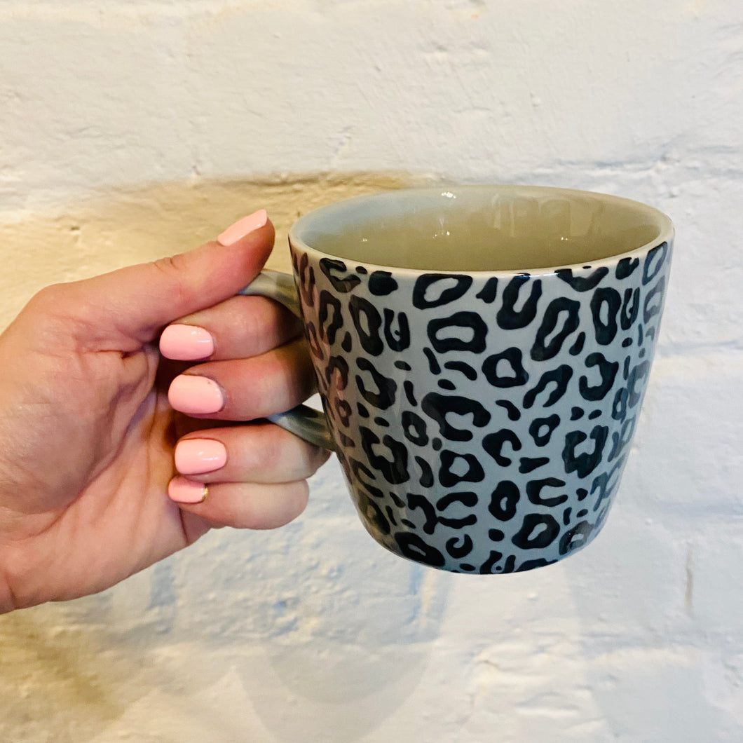 Leopard Print Mug in Grey