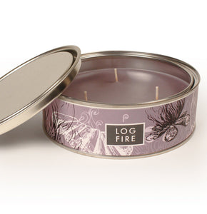 Log Fire Scented Triple Wick Candle Tin - La Di Da Interiors