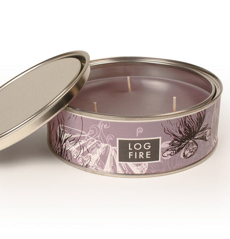 Log Fire Scented Triple Wick Candle Tin