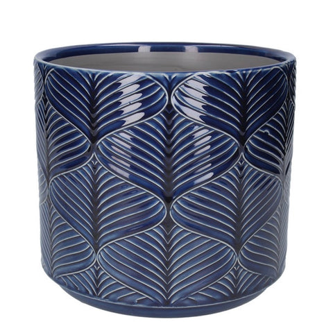 Navy Wavy Ceramic Pot Cover Large