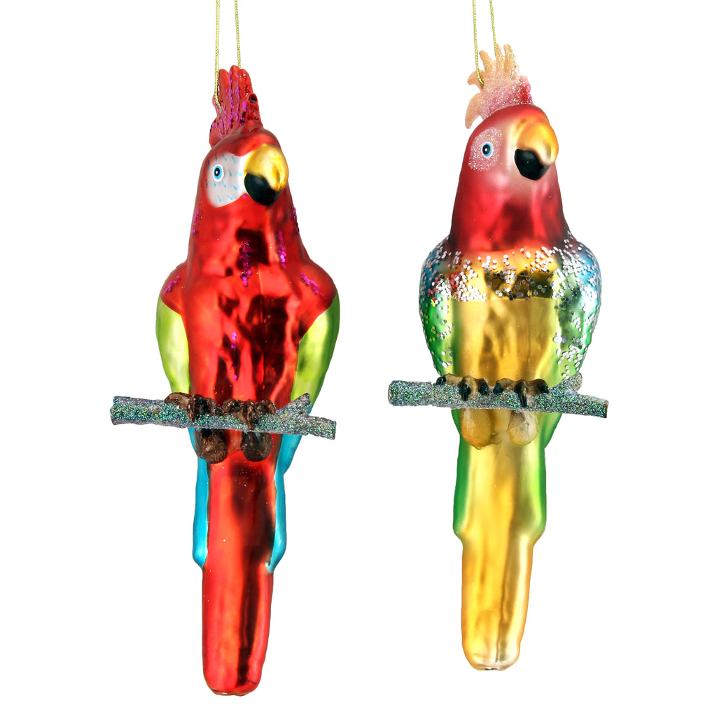 Multi Coloured Parrot Glass Christmas Tree Decoration - La Di Da Interiors