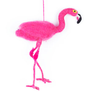 Festive Flamingo Felt Tree Decoration