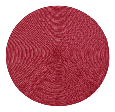 Table Place Mats Round Ribbed Festive Red