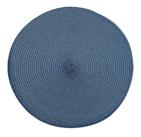 Table Place Mats Round Ribbed Slate Blue