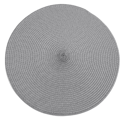 Table Place Mats Round Ribbed Storm Grey