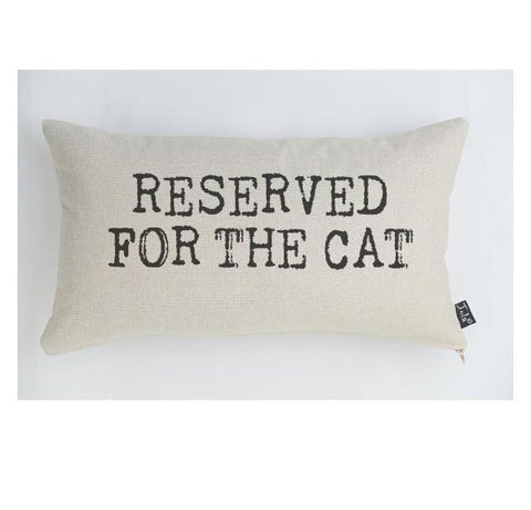"""Reserved for the Cat"" Linen & Duck Down Cushion"
