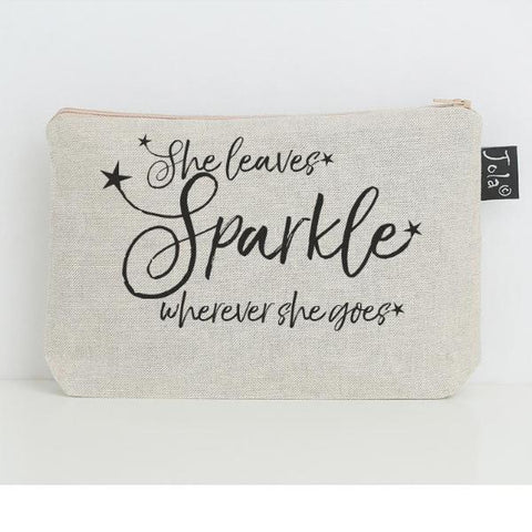 Linen Make Up Bag, Sparkle, Champagne & Scruples