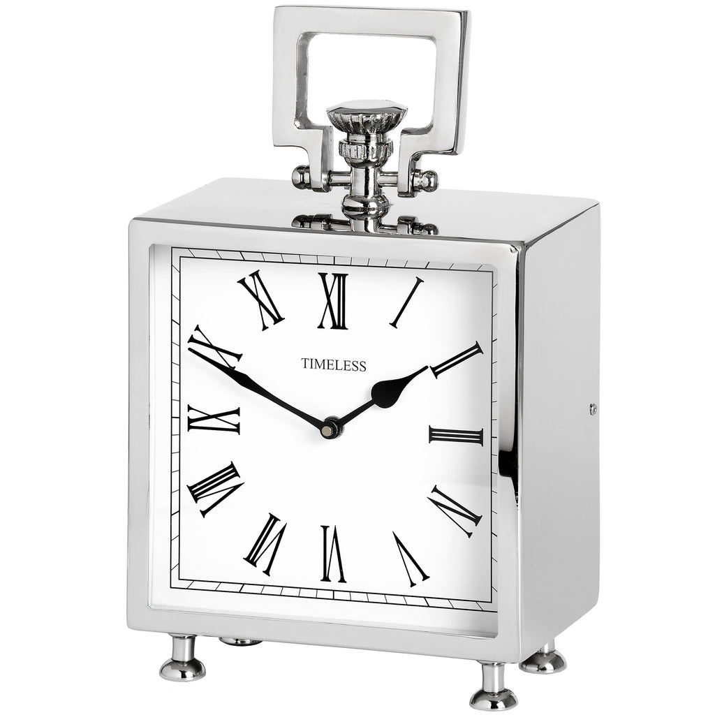 Square Table Clock in Silver