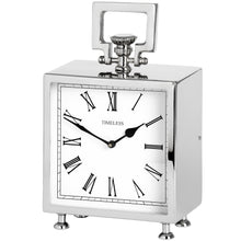 Load image into Gallery viewer, Square Table Clock in Silver - La Di Da Interiors