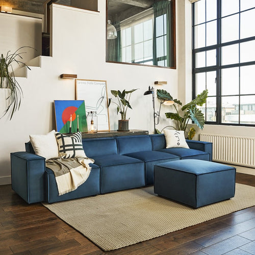 Model 03 Sofa and ottoman by Swyft in Teal Velvet