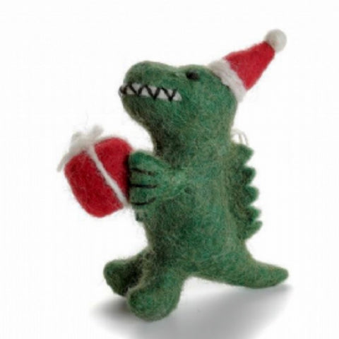 T-Rex Dinosaur with Gift Christmas Tree Decoration