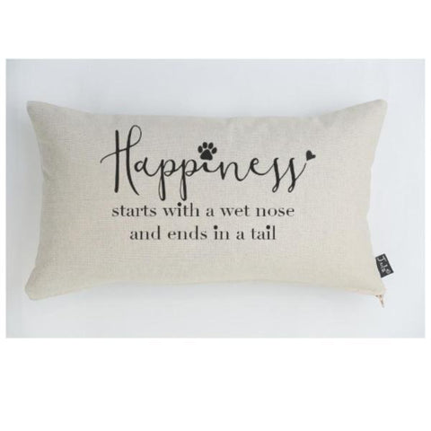 Happiness starts with... Dog linen cushion