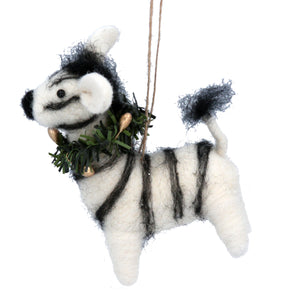 Zane the Zebra Felt Christmas Tree Decoration