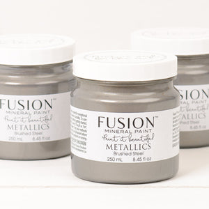 Fusion Mineral Paint Metallic Brushed Steel 250ml - La Di Da Interiors