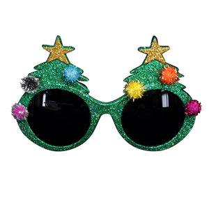 Green Glitter Xmas Glasses