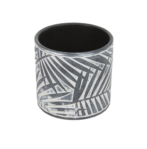 Grey Ceramic Palm & Zig Zag Plant Pots
