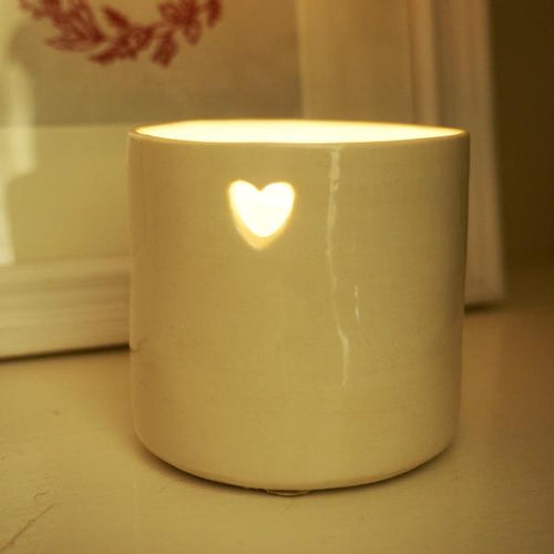 Handmade Heart Ceramic Tealight Holder - La Di Da Interiors