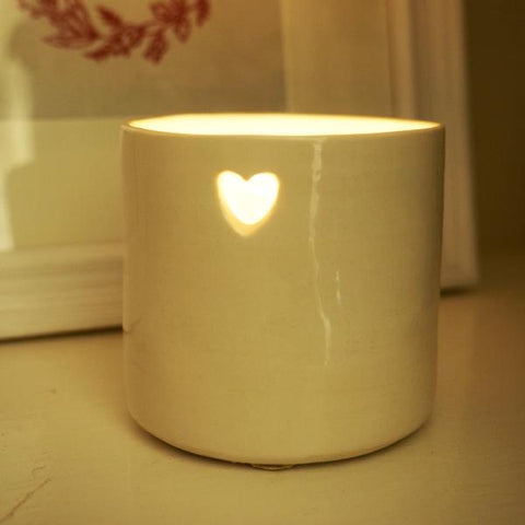 Handmade Heart Ceramic Tealight Holder