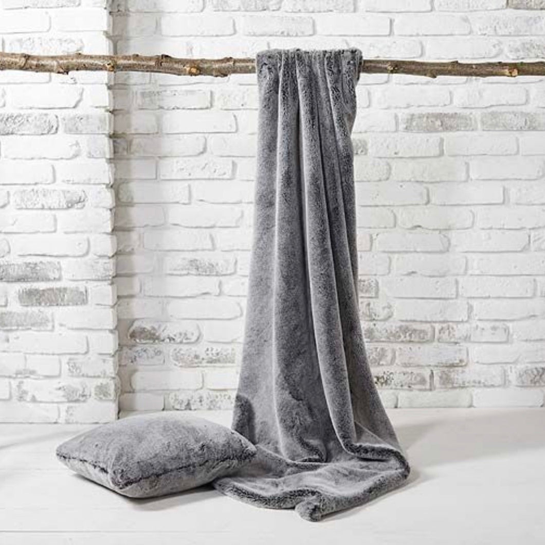 Faux Fur Throw in Charcoal Grey