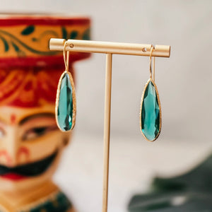 green emerald drop earrings