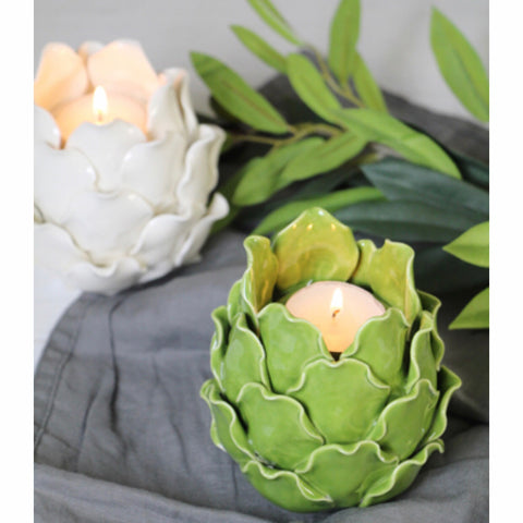Ceramic Artichoke Tea-light Candle Holder