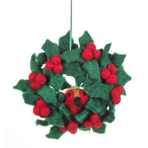robin in a wreath felt christmas tree decoration
