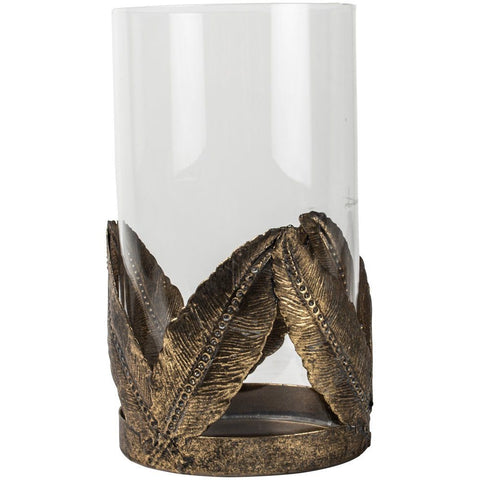 Hurricane lamp with gold leaves