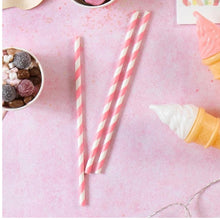 Lade das Bild in den Galerie-Viewer, Pink and White Paper Straws