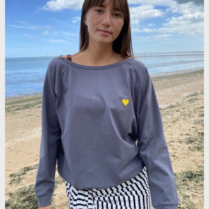 Holly Top Charcoal with Yellow Heart