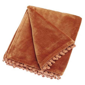 Pom Pom Fleece Throw in Burnt Orange