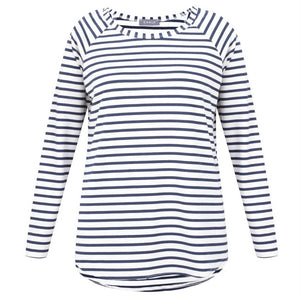 Tasha Stripe Top in Navy and White