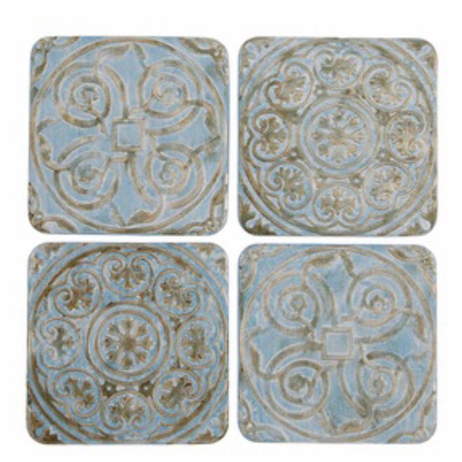 Blue and Gold Coasters - La Di Da Interiors