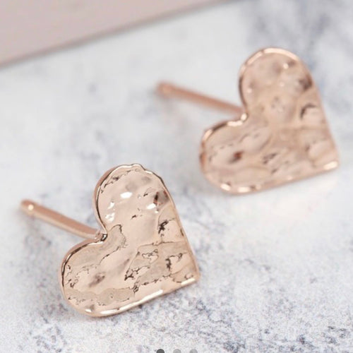 Rose Gold Heart Stud Earrings - La Di Da Interiors