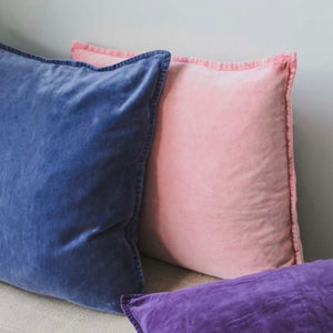 Blush Pink Stonewashed Velvet Cushion