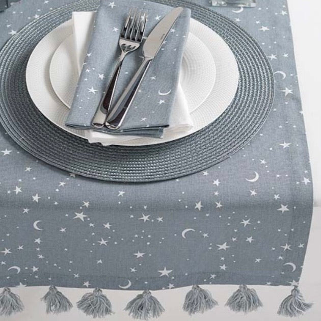 Twilight Grey & White Stars Table Runner